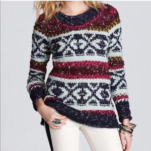 Free People Chunky Knit Cozy Fair Isle Sweater S